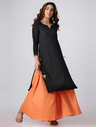 Black Cotton Slub Kurta with Tassels