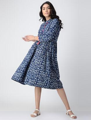 Indigo Block-printed Cotton Dress