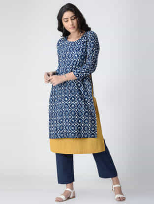 Indigo Block-printed Cotton Layered Kurta