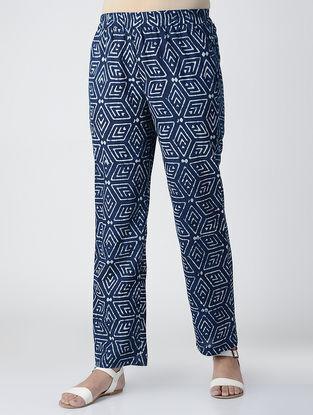 Indigo Block-printed Elasticated Waist Cotton Pants