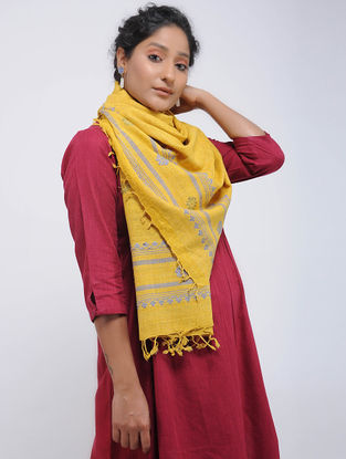 Yellow-Blue Eri Silk Stole