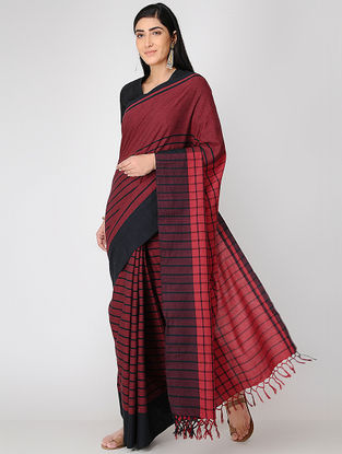 Maroon-Black Mul Cotton Saree