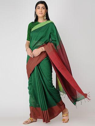 Green-Red Mul Cotton Saree
