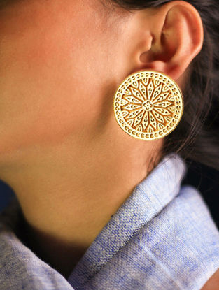 Ivory Wood and Gold-plated Brass Earrings