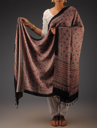 Red-Purple Gajji Silk Ajrakh Printed Dupatta By Jaypore