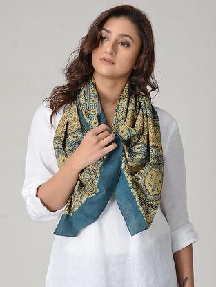 Ochre-Blue Ajrakh-printed Cotton Stole
