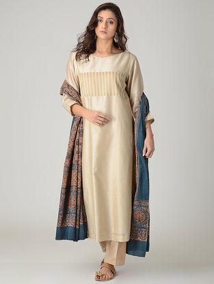 Brown-Blue Ajrakh-printed Cotton Dupatta