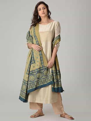 Green-Blue Ajrakh-printed Cotton Dupatta