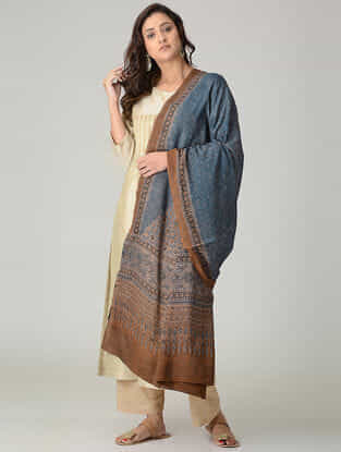 Blue-Brown Ajrakh-printed Mul Dupatta