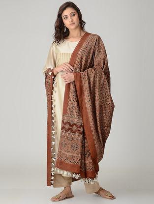 Brown-Ivory Ajrakh-printed Mul Dupatta with Tassels