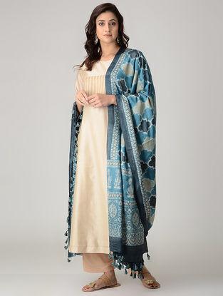 Blue-Grey Ajrakh-printed Silk Dupatta with Tassels