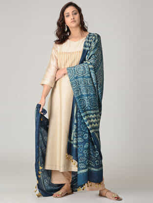 Blue-Ivory Ajrakh-printed Silk Dupatta with Tassels