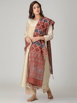Red-Blue Ajrakh-printed Khadi Cotton Dupatta