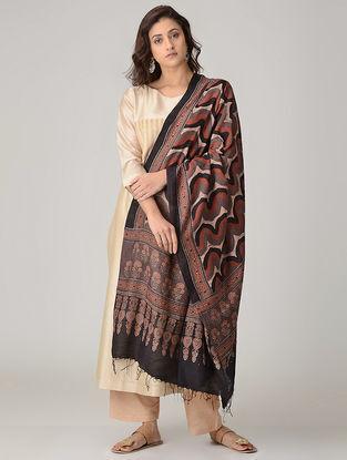 Maroon-Red Ajrakh-printed Khadi Cotton Dupatta