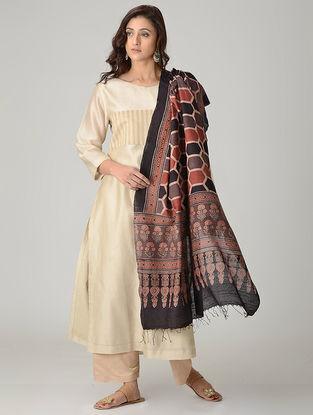 Maroon-Black Ajrakh-printed Khadi Cotton Dupatta