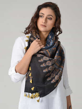 Blue-Back Ajrakh-printed Chanderi Stole with Tassels
