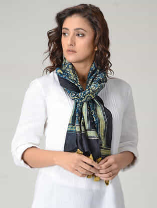Blue-Green Ajrakh-printed Chanderi Stole with Tassels