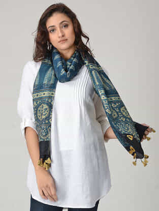 Blue-Ivory Ajrakh-printed Chanderi Stole with Tassels