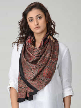 Maroon-Red Ajrakh-printed Silk Stole