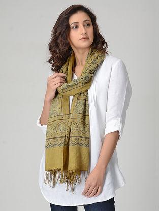Yellow-Black Ajrakh-printed Khadi Cotton Stole
