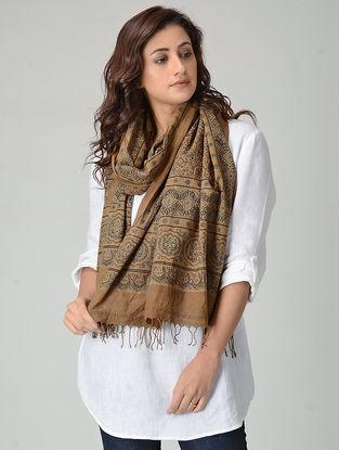 Brown Ajrakh-printed Khadi Cotton Stole