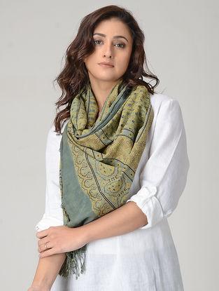 Yellow-Grey Ajrakh-printed Khadi Cotton Stole