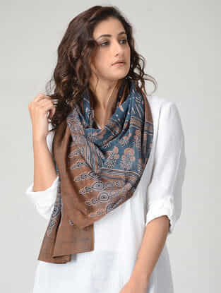Blue-Brown Ajrakh-printed Mul Stole