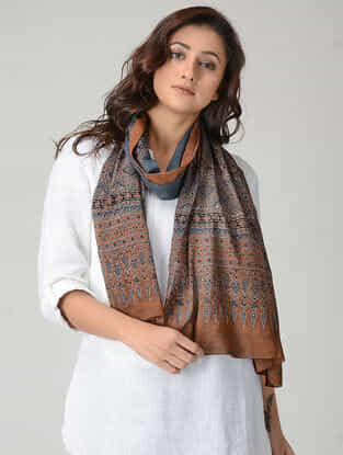 Brown-Blue Ajrakh-printed Mul Stole