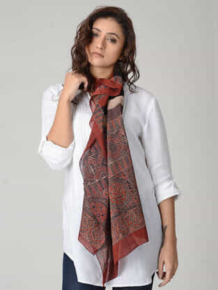 Maroon-Red Ajrakh-printed Mul Stole