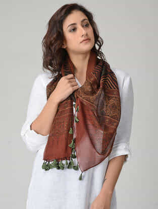 Red-Green Ajrakh-printed Kota Doria Stole with Tassels
