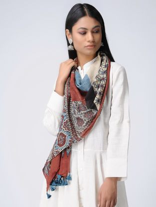 Madder-Ivory Ajrakh Cotton Stole
