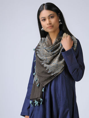 Brown-Indigo Ajrakh Cotton Stole