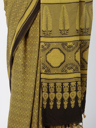 Mustard Ajrakh-printed Cotton Mul Saree with Tassels