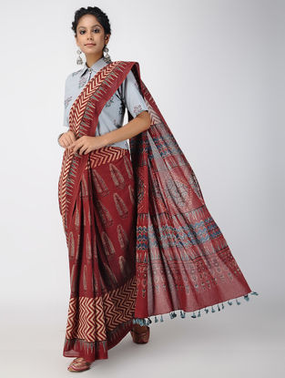 Madder-Black Ajrakh-printed Cotton Mul Saree with Tassels