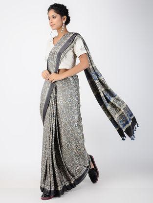 Indigo Ajrakh-printed Gajji Silk Saree with Tassels