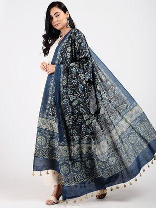 Indigo Ajrakh-printed Silk Cotton Dupatta