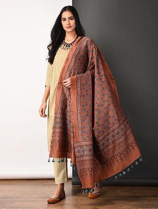Rust Ajrakh-printed Silk Cotton Dupatta