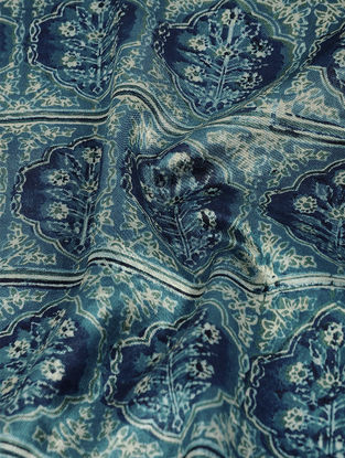 Green-Ivory Ajrakh-printed Mashru Fabric