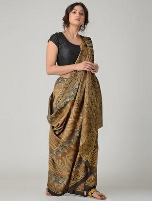 Beige-Black Ajrakh-printed Chanderi Saree with Tassels