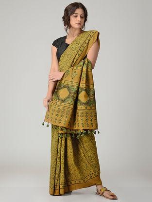 Yellow-Green Ajrakh-printed Chanderi Saree with Tassels