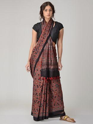 Red-Black Ajrakh-printed Mul Saree with Tassels