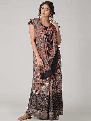 Grey-Black Ajrakh-printed Mul Saree with Tassels