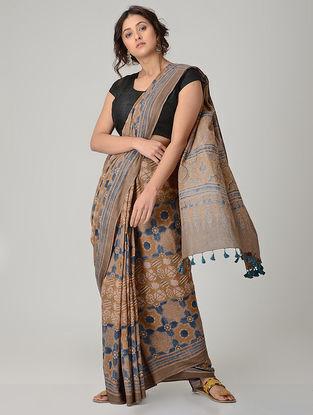 Brown-Blue Ajrakh-printed Mul Saree with Tassels