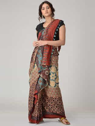 Beige-Maroon Ajrakh-printed Mul Saree with Tassels