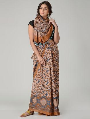 Peach-Blue Ajrakh-printed Mul Saree with Tassels