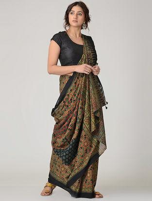 Green-Black Ajrakh-printed Mul Saree with Tassels