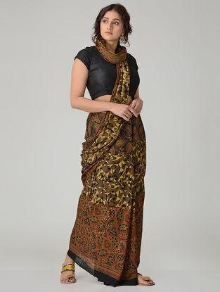 Brown-Black Ajrakh-printed Mul Saree with Tassels
