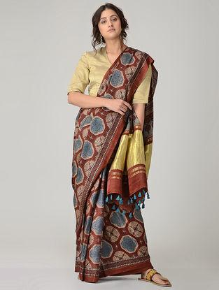 Brown-Blue Ajrakh-printed Gajji Silk Saree with Zari and Tassels