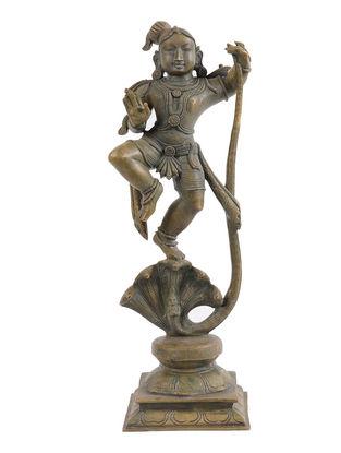 Krishna - Kaliyamardan Bronze Statue - 12 Inch