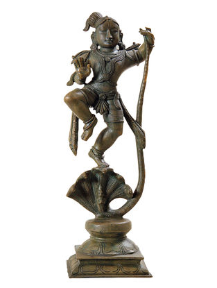 Krishna Kaliyamardan Bronze Statue - 14 Inch